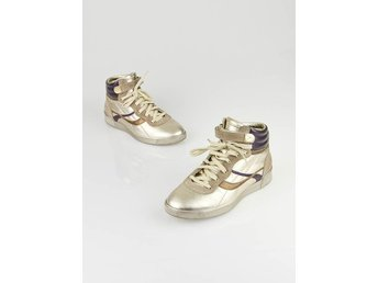 Äkta Louis Vuitton Limited EditionGold Metallic Leather High Top Sneakers \ skor