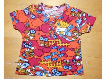 Retro 70-tal T-shirt baby svampar träd motiv made in finland 60 cl