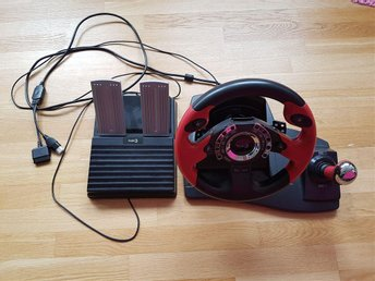 TOP DRIVE GT4 STEERING WHEEL AND PEDALS DUAL  FÖR USE MED PS2 OCH MICROSOFT XBOX