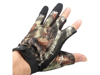 3 Cut Finger Anti-Slip Camouflage Fishing Hunting Gloves ...