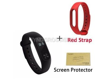 Xiaomi Mi Band 2 + Screen Protector + Red Strap Fri Frakt Helt Ny