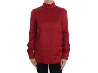 Dolce & Gabbana - Red Silk Stretch Blouse Turtleneck Top