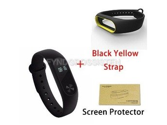 Xiaomi Mi Band 2 + Screen Protector + Black Yellow Strap Fri Frakt Helt Ny