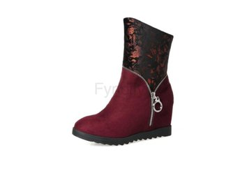 Dam Boots Wedges High Heel Women Snow Boots Wine Red 42