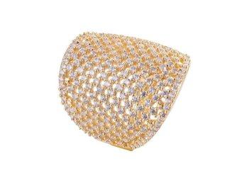 Ring Copper Zirconia 18K Gold/Platinum Plated size 7 gold