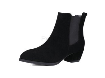 Dam Boots Toe Square Mid Heel Women Ankle Boots Black 42