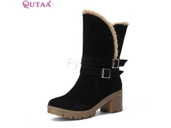 Dam Boots PU Leather Boots snow boots Lady Shoes Black 34