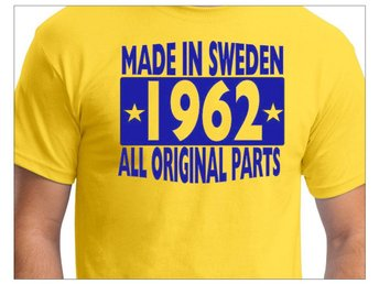 Gul T-shirt : Made in Sweden 1962 - All original parts Storlek XL