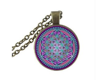 Halsband Flower Of Life Mandala - Buddhism Yoga - Lila/Turkos