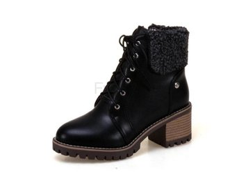 Dam Boots Lace Up Fashion Round Toe Women Boots Black 42
