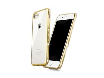 iPhone 7 8 Mobilskal Guld Diamanter Bling Bumper