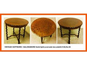 Soffbord Vintage : Vintage soffbord salongbord sidobord solid björk svarvade