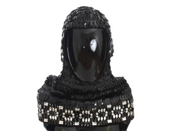 Dolce & Gabbana - Black Knitted Wool Crystal Beaded Hood Scarf Hat