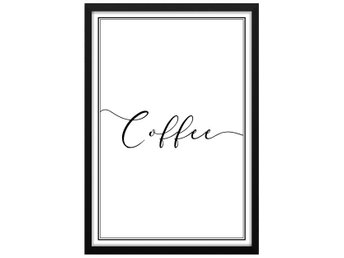 Affisch/Poster Retro Coffee Text Kaffe 33x48cm