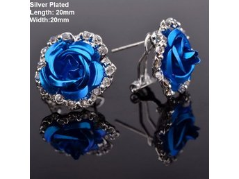 Silver Blue Chic Flower Crystal Party Earrings