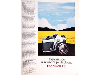 NIKON FE - EXPERIENCE A SENSE OF PERFECTION, TIDNINGSANNONS Retro 1979