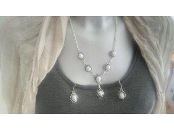 32 GRAM Gammal 925 stämplat silver smyckeset halsband örhängen med ÄKTA PÄRLOR - Borås - 32 GRAM Gammal 925 stämplat silver smyckeset halsband örhängen med ÄKTA PÄRLOR - Borås