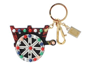 Dolce & Gabbana - Multicolor Leather Cart Wheel Gold Keychain