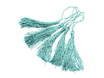 Tassel dekoration 80 mm 20-Pack - turkos