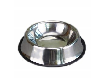 Stainless Steel Silver Puppy Dogs All Ages Bowl Feeding Pet Food Feeder Dish