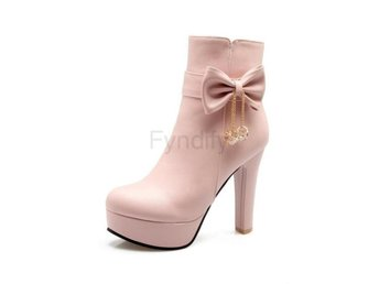 Dam Boots Tie Cute Stlye Wintersquare High Heel Pink 42