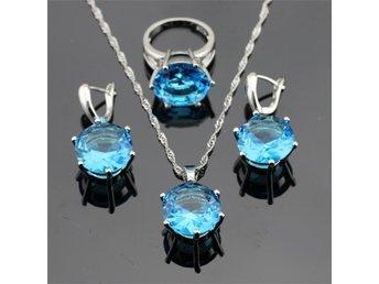 Oval blå safir 925 sterling silver halsband hänge Örhängen ring 17,5mm - Helsingborg - Oval blå safir 925 sterling silver halsband hänge Örhängen ring 17,5mm - Helsingborg