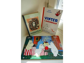 3 X MUMIN    3 X MOOMIN   BÖCKER OCH PUSSEL     2 BOOKS AND PUZZLE RARE BOOK