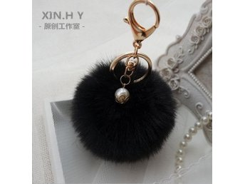 HELT NYTT!!! NYCKELRING New Rabbit Fur Ball Fluffy Car Keychain Pendant FRI FRAK