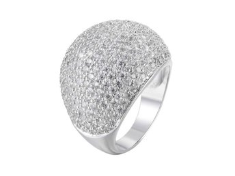 Ring Zirconia 18K Gold/Platinum Plated size 9 platinum