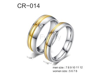 Ring Couple Stainless Steel Metal Engagement Mix Size CR014