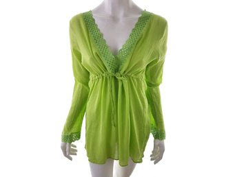 Marks&spencer 1 Long Sleeve Tunic Size 18 (46) Green 100% Cotton