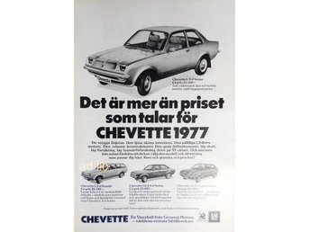 CHEVETTE 1977 GENERAL MOTORS TIDNINGSANNONS Retro 1977