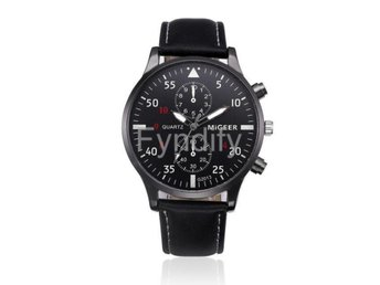 Leather Band Watch Men Black