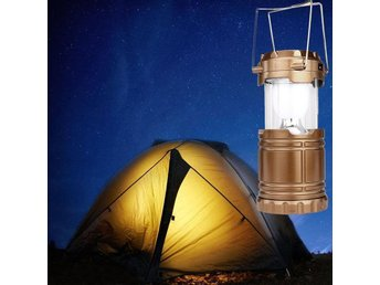 Solar Power/USB Rechargeable LED Stretchable Flashlight Camping Light Lamp Gold