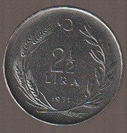 Turkey 2 1/2 Lira 1971 se bild