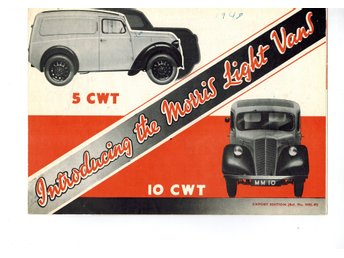 Morris Light vans 5 cwt-10 cwt 1948