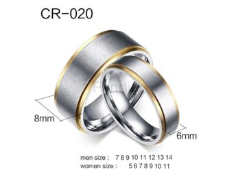 Ring Couple Stainless Steel Metal Engagement Mix Size CR020