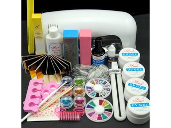 Pro 9W UV Lamp Gel Nail Stickers Powder Curing Primer Brush Manicure Tools Set