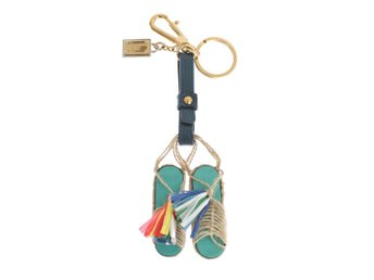 Dolce & Gabbana - Multicolor Leather Sandals Gold Brass Keychain