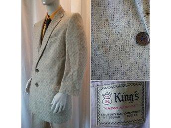 3b13330eab0a Vintage retro kavaj sports jacket USA Kings ull ljust gråmönstrad stl L ca