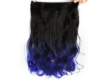 Mizzy Löshår lockig 5 Clip on dip dye - Svart & Mörkblå #BlackTBlue