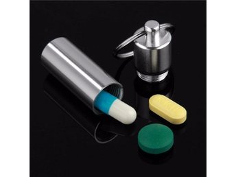 Pillerburk Keychain Pill Box WaterProof Silvery Aluminum Drug Case
