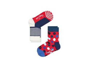 Happy Socks 2-Pack barnstrumpor Big Dots & Stripes, Navy & Red (4-6 år)