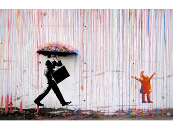 Zeit4art BANKSY Färgrikt regn Coloured Rain Bild uppspänd CANVAS 90x60cm