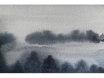 "Akvarell/Watercolour, ""Foggy landscape""."