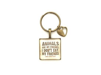 Nyckelring - Animals are my friends... - Vegan