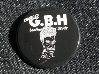 GBH - 4,5 cm - Badge / Pin / Knapp - (Punk, UK 82, Discharge, Exploited,)