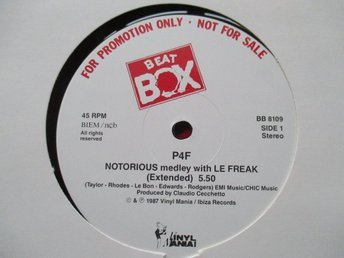 "Beat Box promo 12"" maxi: PF4 - NOTORIOUS"
