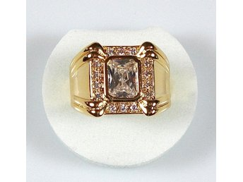 Goldfilled, 18K Guldfylld Ring med Kristallklar Topas, 19,8mm