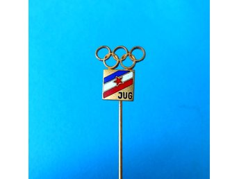 YUGOSLAV NOC for Olympic Games Los Angeles 1984. - vintage enamel pin badge